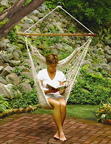 Algoma Hanging Cotton Rope Net Hammock Chair for Trees Porches Patios and Indoors.