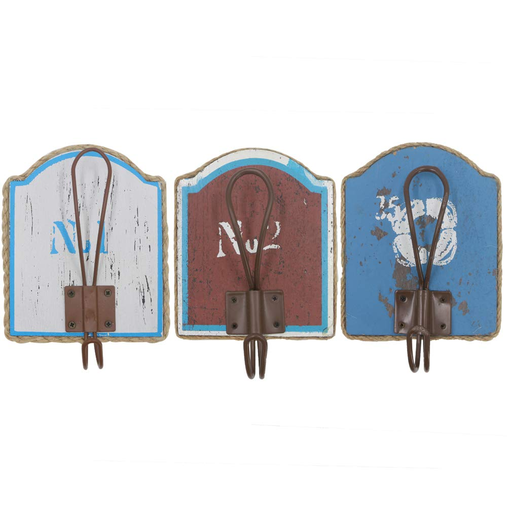 Kuip Design Decorative Wood Wall Hanger for Coat Hat Vintage Hook Blue 3 in 1 Set