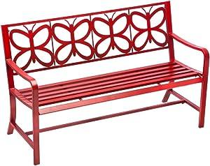 Cape Craftsmen Retro Red Metal Butterfly Garden Bench