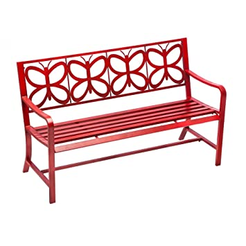 bench retro orange modern medium product hued brickell furniture red collection