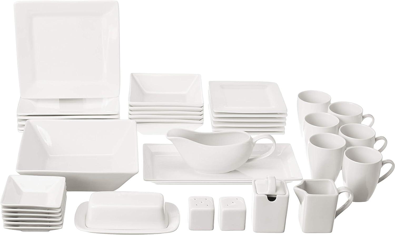 10 Strawberry Street Square 40 Piece Dinnerware Set, Cream White