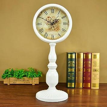 MAFYU Europea Retro reloj reloj sobremesa silenciosa sala hierro reloj escritorio decoración adornos: Amazon.es: Hogar