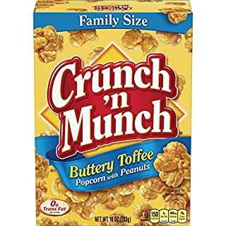 CRUNCH 'N MUNCH Buttery Toffee Popcorn with Peanuts, 10 oz. (Pack of 12)