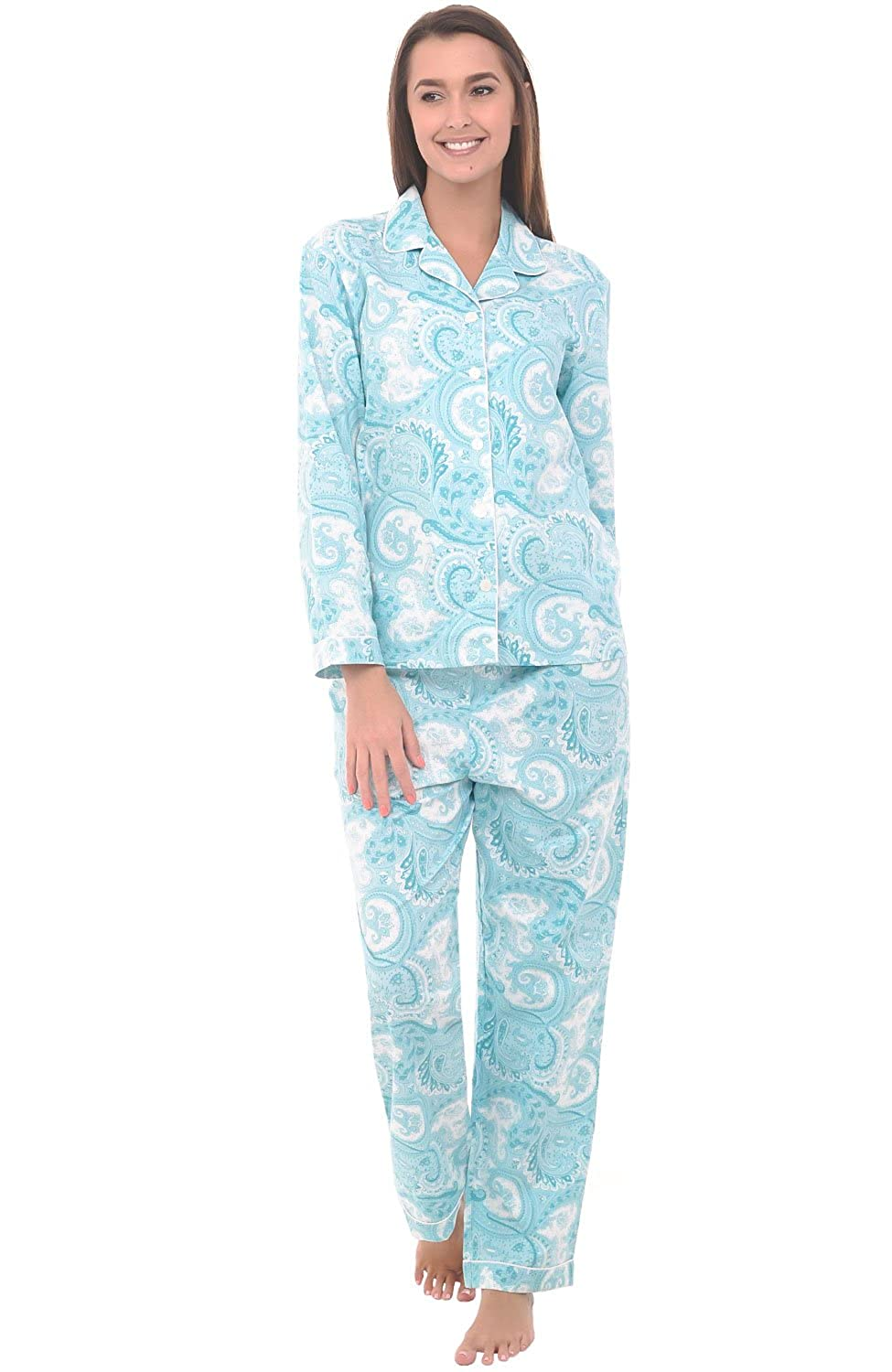 Del Rossa Women's Cotton Pajamas, Long Woven Pj Set