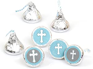 Little Miracle Boy Blue & Gray Cross - Baptism or BabyShower Round Candy Sticker Favors – Labels Fit Hershey's Kisses (1 Sheet of 108)