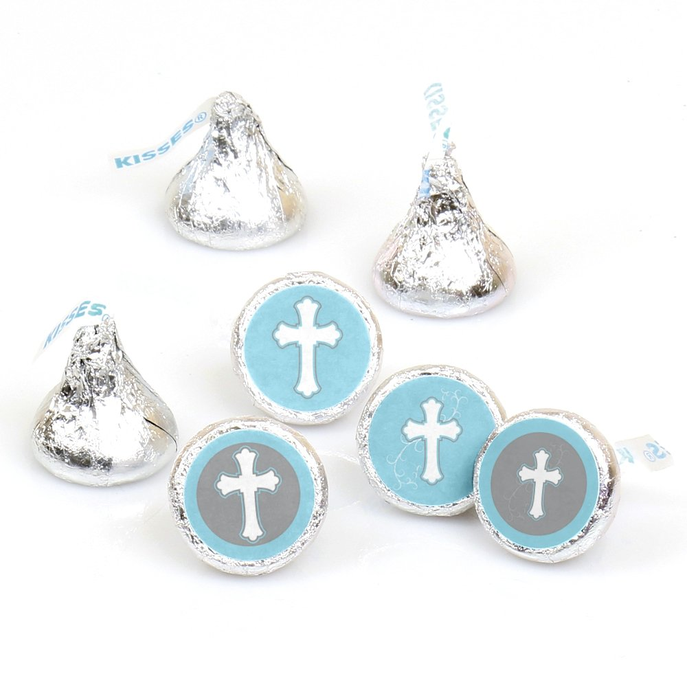 Little Miracle Boy Blue & Gray Cross - Baptism or BabyShower Round Candy Sticker Favors –