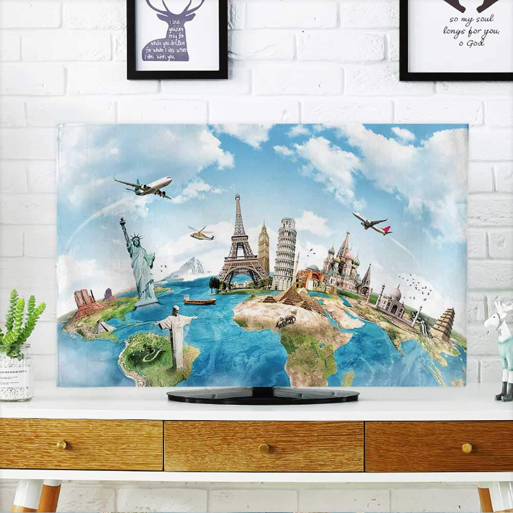PRUNUS TV dust Cover Travel The World Monument Concept TV dust Cover W19 x H30 INCH/TV 32''