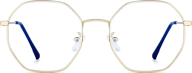 Moda Diseñador Metal Gafas Óptico Marco Anti Luz Azul Anteojos Computadora Protección Para Los Ojos Mujer Dorado