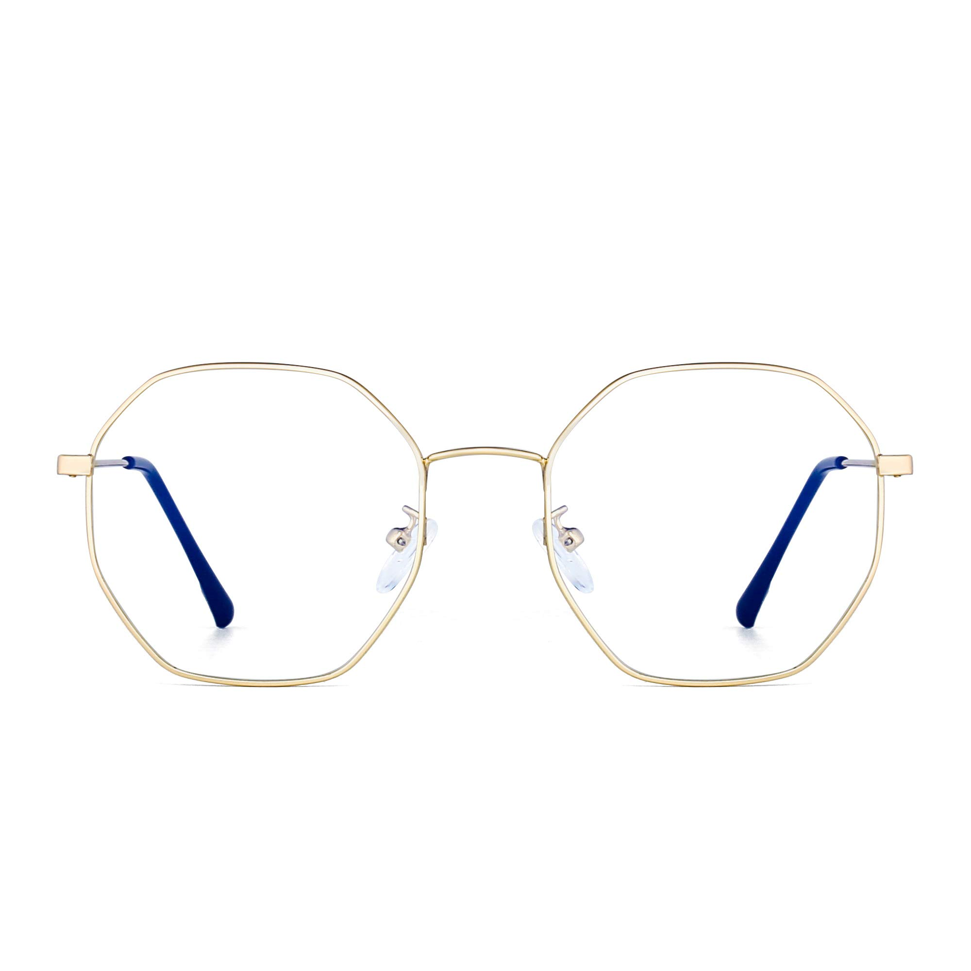 96fc412e31eed JM Lunettes Optiques Anti-lumière Bleue Designer Mode Cadre en Métal  Lunettes de Vue Polygone Protection des Yeux Femmes
