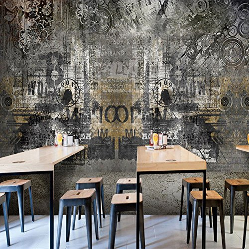 Chan-Mei 3D Retro eólica industrial el muro de hormigón pintadas ...