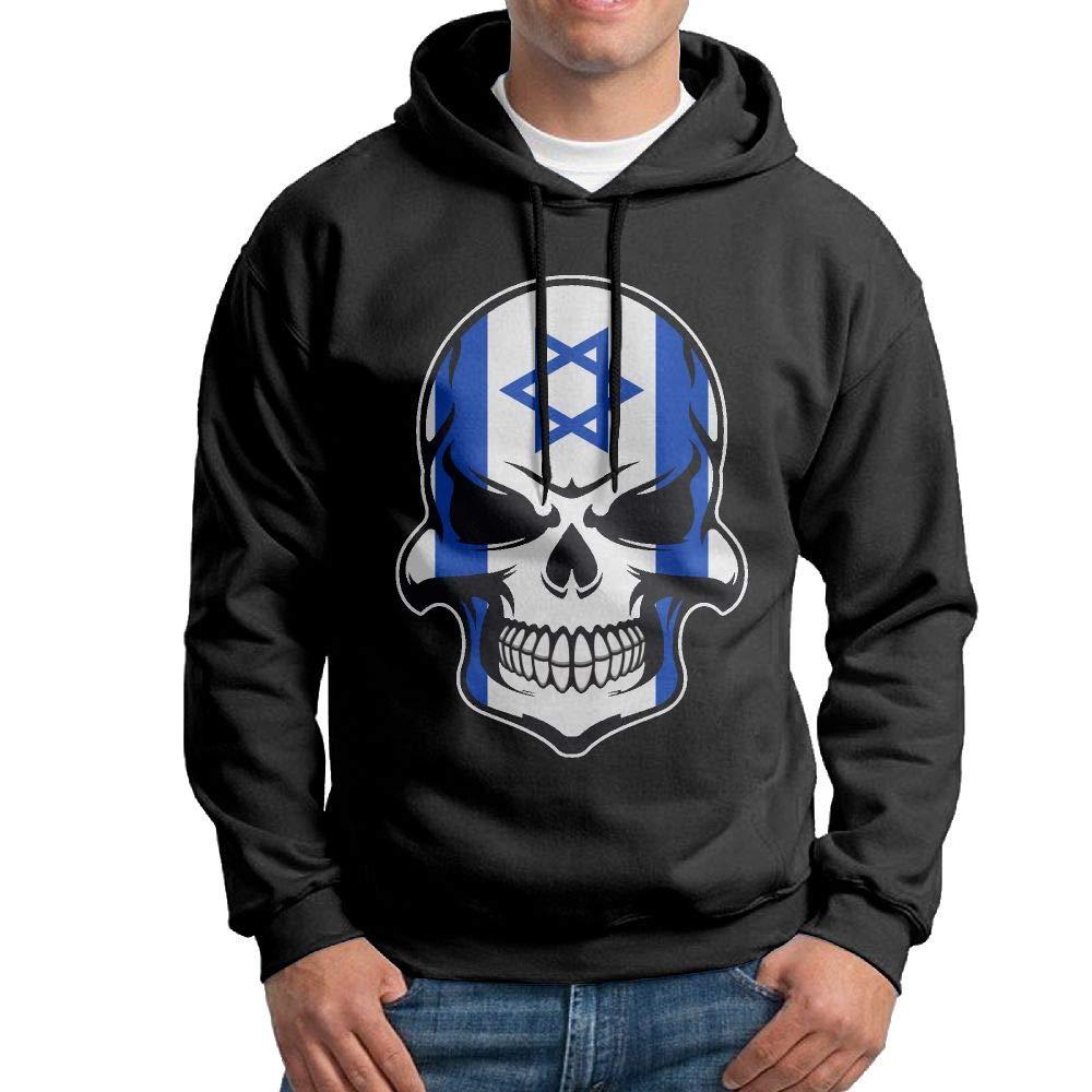 Mens Pullover Hoodies Israel Flag Sugar Skull with Roses Long Sleeve Fleece Hooded Sweatshirt Sweater Blouses Tops