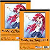 U.S. Art Supply 9'' x 12'' Premium Manga-Marker Paper Pad, 60 Pound (100gsm), Pad of 24-Sheets (Pack of 2 Pads)