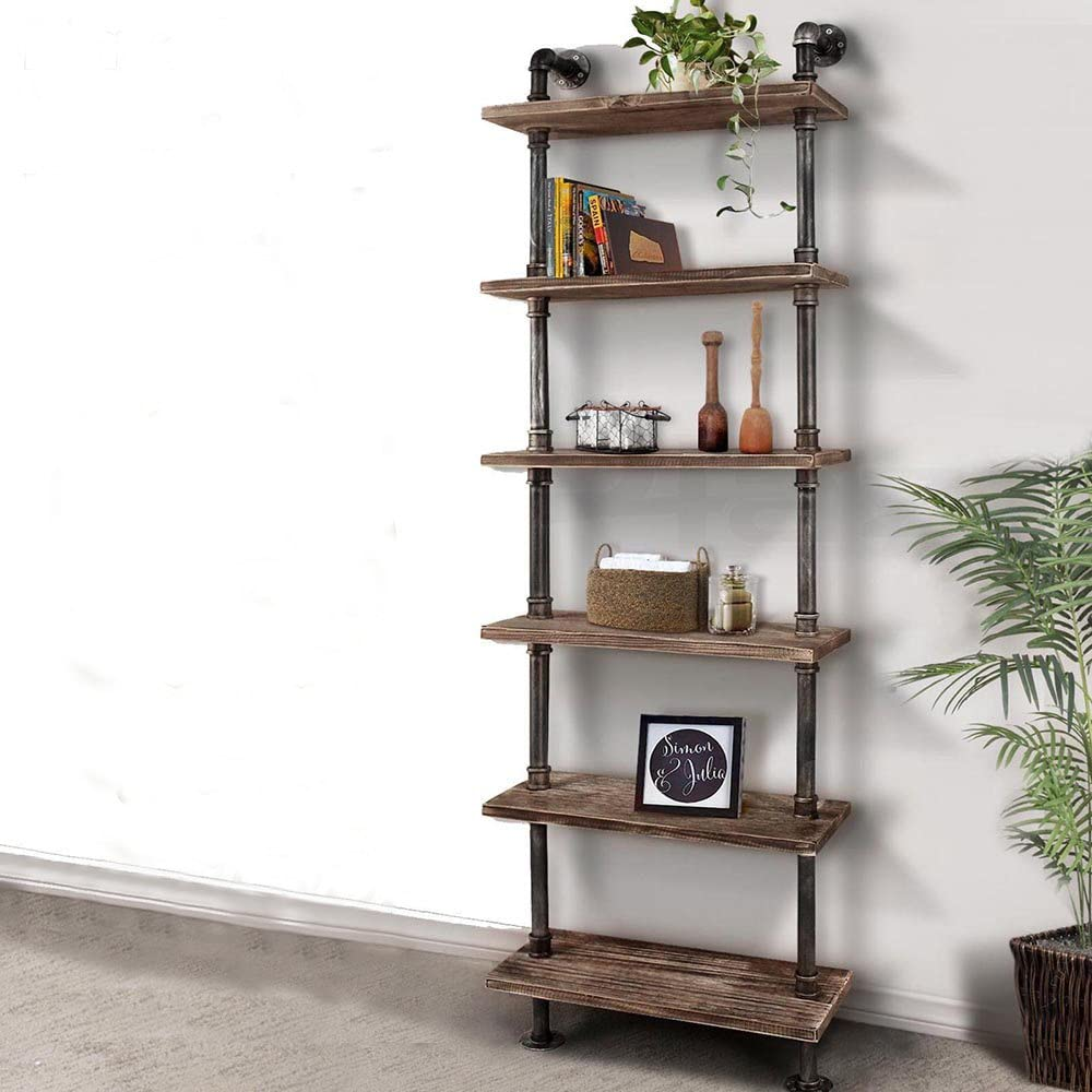 Ikayaa Industrial Wall Shelves Ladder Shelf Diy Iron Pipe Standing Bookcase Utility Storage Rack 6 Tier Amazon Co Uk Kitchen Home