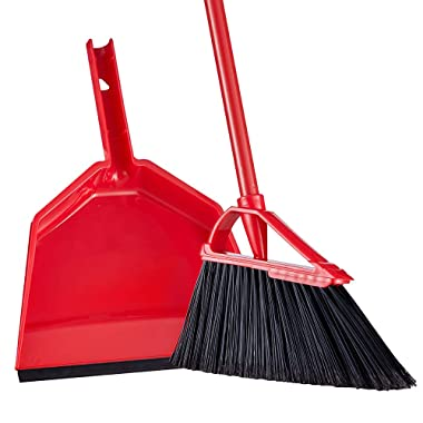 55  Broom and Dustpan Set Tiumso SB030 Anti Static Extendable Angle Brooms Dust Pan Broom Set Sweeping Set Long Broom Red