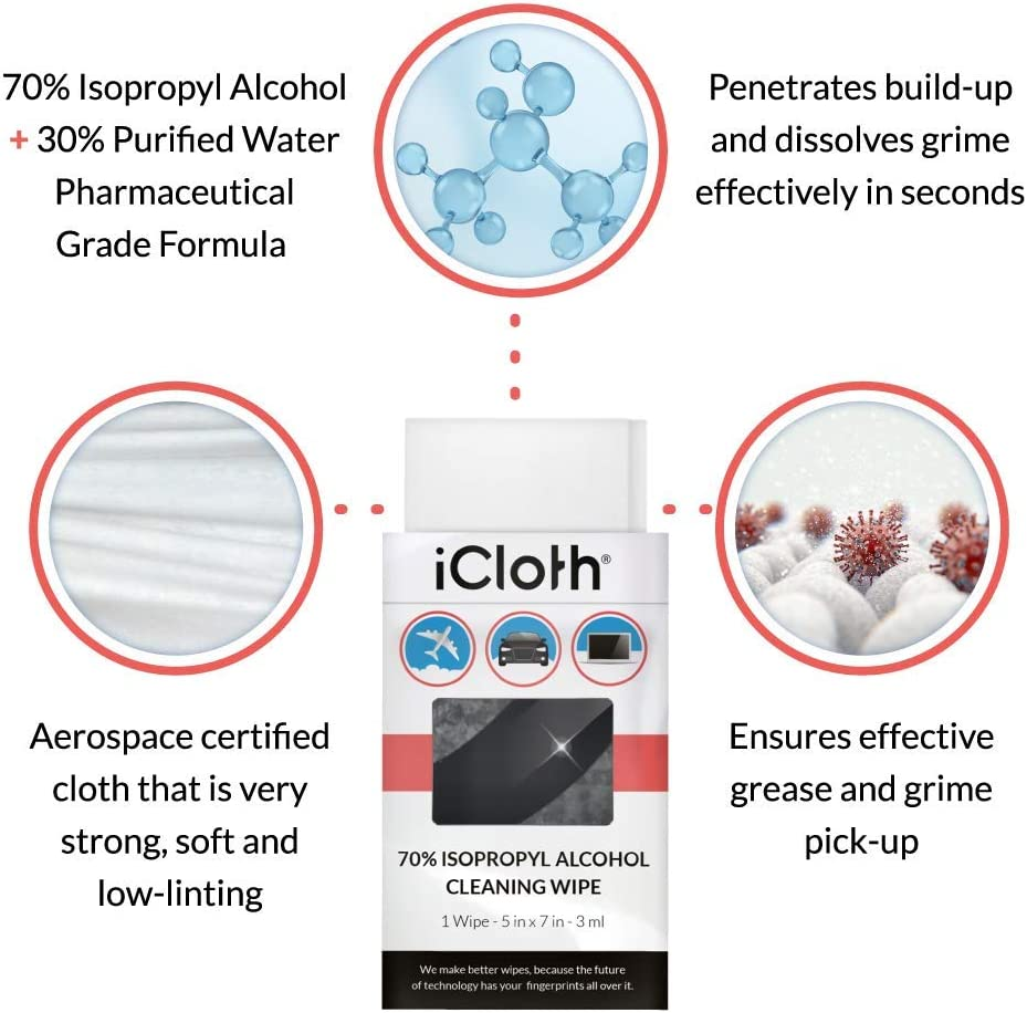 for Personal Devices /& Surfaces Streak-Free Formula /& Lint-Free Cloth Screen Cleaner for All Kinds of Electronics Box of 50 iCloth 70/% Isopropyl Alcohol Cleaning Wipes