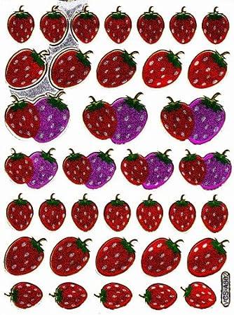 Erdbeeren Fruchte Frucht Kirsche Glitzer Metallic Deko Basteln Spiel