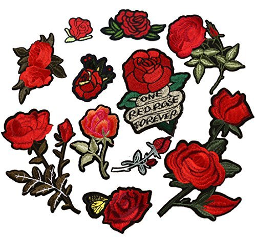 Tuodeal 11 Pieces Rose Patch Embroidered Flower Iron on Patch Applique for Jacket, Jeans, Dress, Shoes, Bags ()