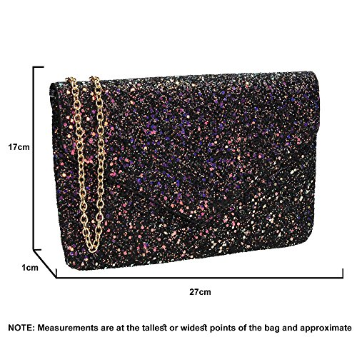 Wedding Ladies Envelope Bag Clutch Glitter Party Black Prom Slim SWANKYSWANS Womens Zuri tqXv8xxa