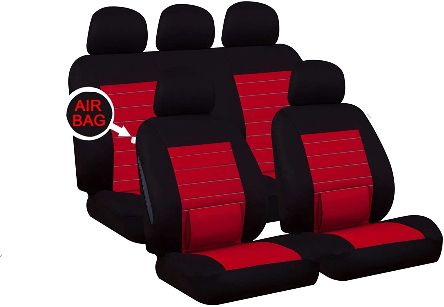 UKB4C Red Full Set Front /& Rear Car Seat Covers for Ibiza All Models