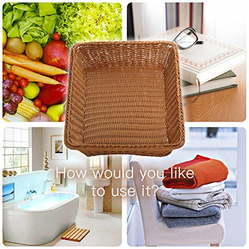15.7'' Poly-Wicker Bread Basket-YOLOGOSUN Woven Tabletop Food Fruit Vegetables Serving Basket, Restaurant Serving,Brown (3 PACK) by YOLOGOSUN (Image #2)