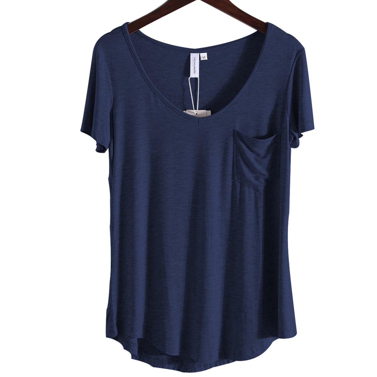 AZHONG Women's Casual Short Sleeve V Neck T-Shirt Loose High Low Hem Tunic Tee Tops with Pocket