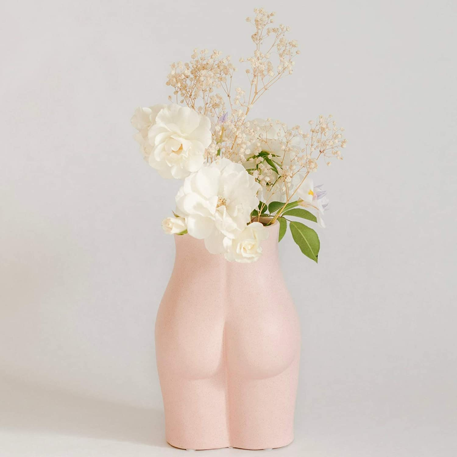 BASE ROOTS Tall Body Flower Vase, Vases for Decor, Modern Boho Chic Home Decor, Small Accent Piece for Living Room, Indoor Plant, Shelf, Mantle, Table, Office, Desk, Dorm (Tall Bottom, Speckled Pink)