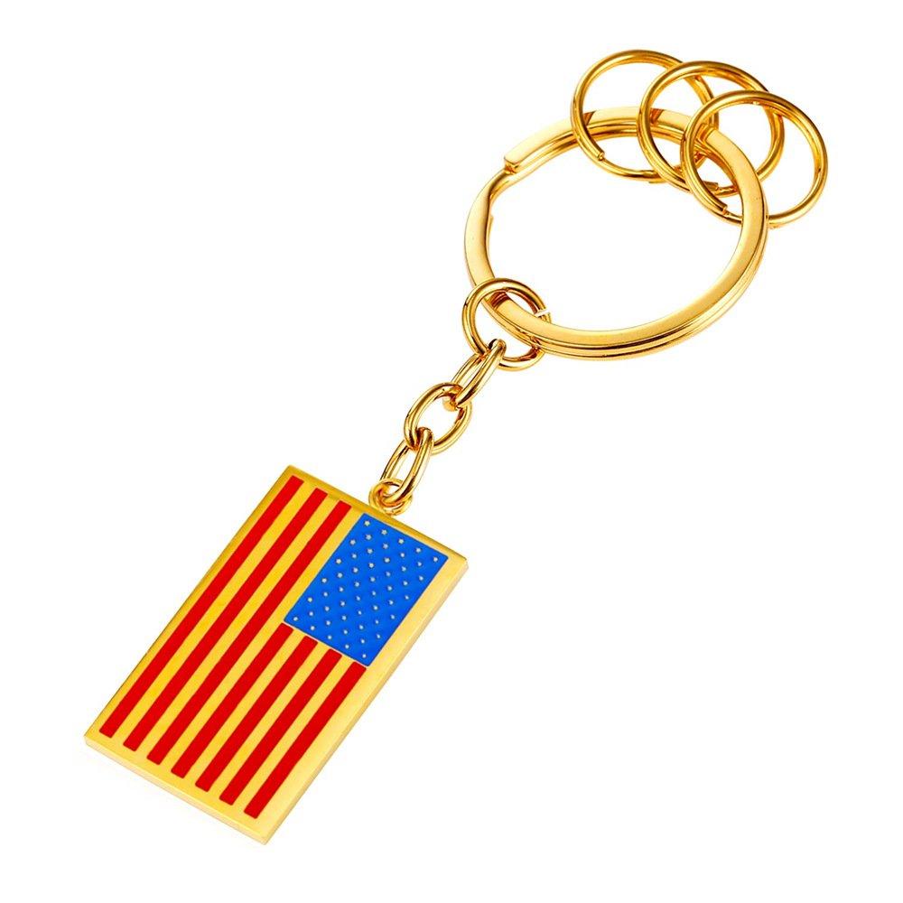 House Key Keychain & Keyrings Gold Plated Cool US Flag Design Charm Men Car Key Chain
