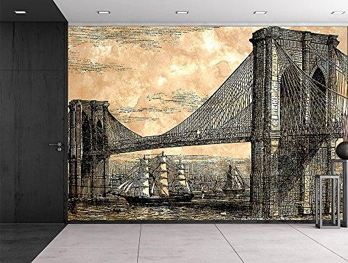 Engraved Illustration Brooklyn Bridge 1883 Suspension bridge with sailed ships navigating below Wall Mural