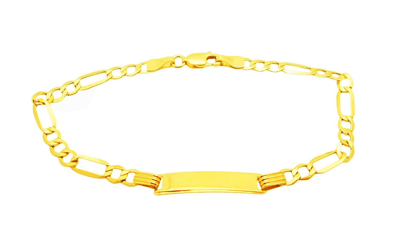 Boys Girls 10k Yellow Gold 3.5 mm Figaro link ID Bracelet 7 inch