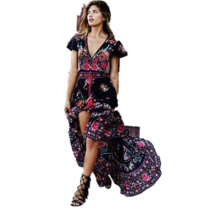 47a9669d6d1a Yanhoo Damen Kleid Abend Kleid Schulterfreies Cocktailkleid Jerseykleid  Skaterkleid Frauen Strand Häkeln Backless Frauen Print Floral Retro Palace  ...