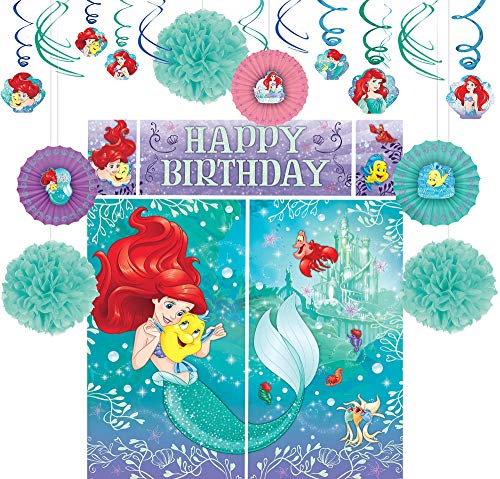Party City Little Mermaid Decorating Supplies, Include Pom Poms, Hanging Fans and Swirls, and a Photo Booth with Props]()