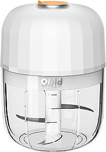 Electric Mini Garlic Chopper, Olrid Mini Chopper Food Processor, Garlic Mincer, for Chop Onion Nut Ginger Vegetable Pepper Spice Meat, Baby Food, Easy Cleaning, BPA Free (350ml)