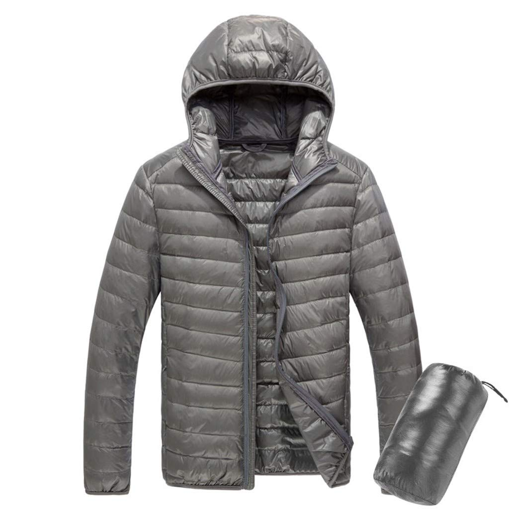 Funnygals - Mens Down Jacket - Lightweight Autumn Coat, Easy Care, Packaway Bag, Wind Proof Jacket - for Travelling Gray by Funnygals - Clothing