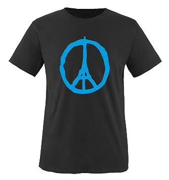 Comedy Shirts - PEACE - PARIS - Eifelturm - Solidarität - Herren T-Shirt -