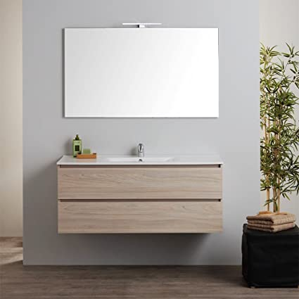 Mobile Bagno Sospeso Con Lavabo Integrato E Specchio 120 Cm Berlin Amazon It Fai Da Te