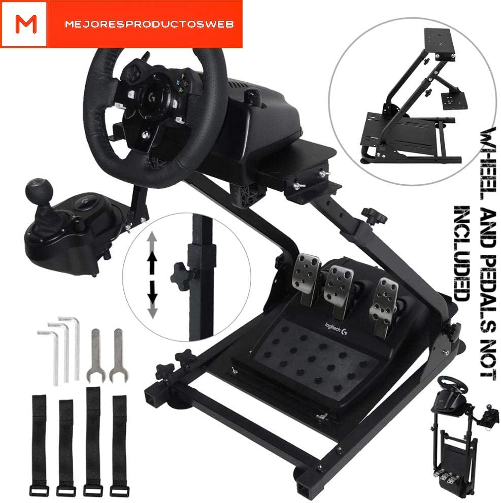 MejoresProductosWeb Supporto Volante Steering Wheel 61 x 45 x 58-77cm Universal pieghevole G25 G27 G29 G920 Thrustmaster Wheel Stand Pro Compatible Stand