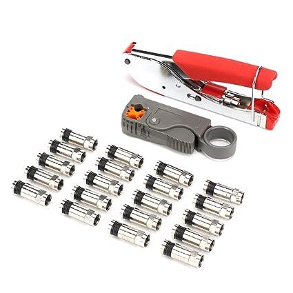 Yardwe Juego de alicates de alicate de alicates de cable coaxial herramienta de combinación con tapones