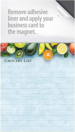 with a Peel and Stick Area for Your Business Card Basic Grocery List Magnet Notepads Box of 100 Notepads