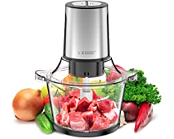 Electric Food Chopper,8-Cup 300W Food Processor Meat Grinder with 1.5L Glass Bowl for Meat,Vegetables,Fruits and Nuts,Fast &