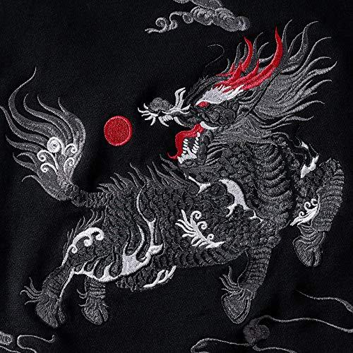 Leggenda Con Totem Cauale Kirin Nero Ricamo Cappuccio Cinese Flychen Unisex Marziali Uomo Arti Moda Spirituale Delle Stile Felpa zSqxSERw4