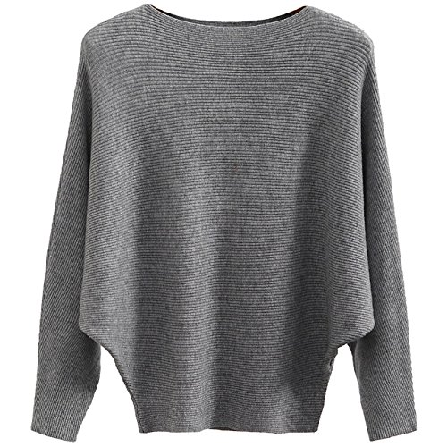 GABERLY Boat Neck Batwing Sleeves Dolman Knitted Sweaters and Pullovers Tops for Women (Grey, One Size)