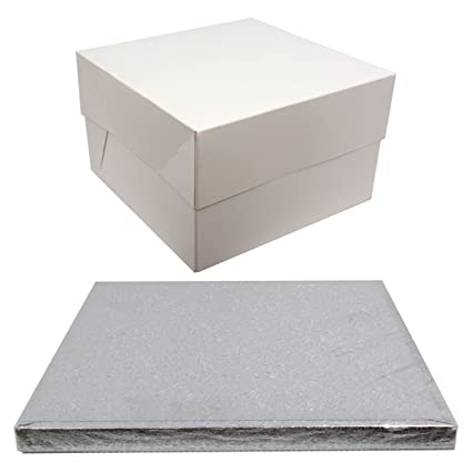 Plata tambor cuadrado para tartas y blanco caja de transporte. (18 pulgadas)