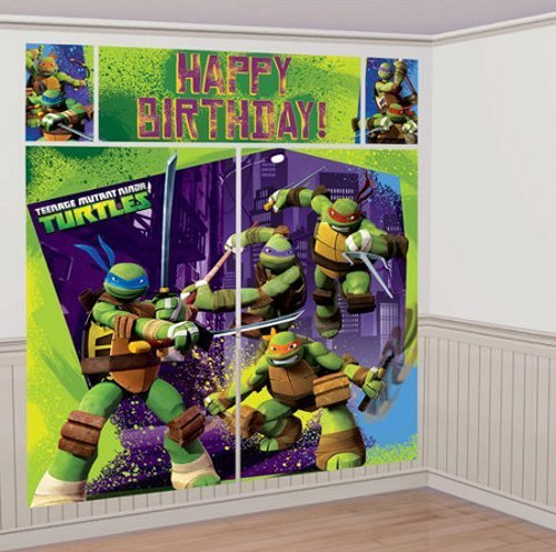 Nickelodeon Teenage Mutant Ninja Turtles Party Giant Scene Setter Wall Decorating Kit (5pc) ()
