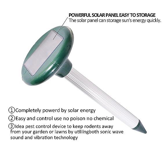 Ndier Lote de 2 repelentes de Animales solares electrónicos por ultrasonidos, Ratas, Ratones, Insectos, Serpientes, roedores y Otras plagas