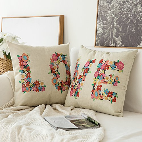 Miulee Pack of 2, Valentine's Day Flower LOVE Series Cotton Linen Decorative Throw Pillow Case Cushion Cover Pillowcase for Sofa Bed Car 18 x 18 Inch 45 x 45 (Flowers Pillowcase)