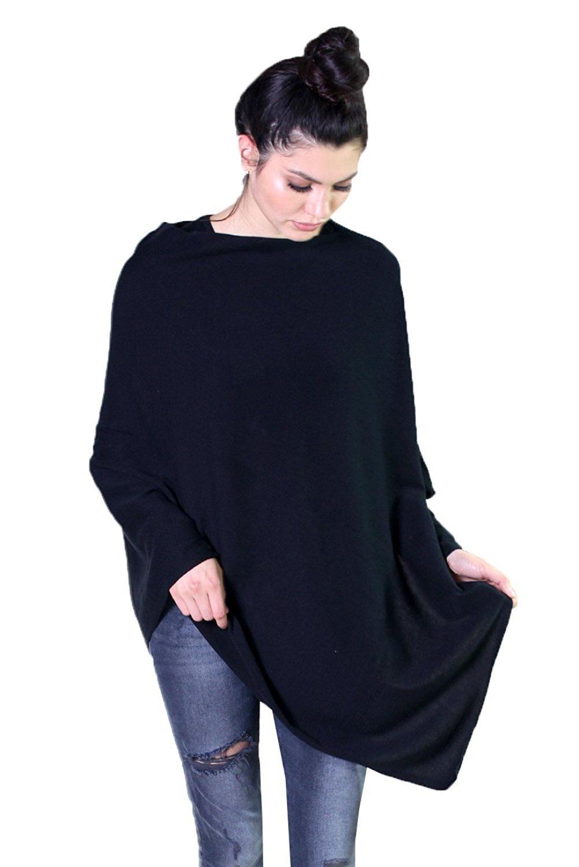 Viverano Organic Cotton Solid Poncho Sweater Dress Topper, Soft & Lightweight (Black)