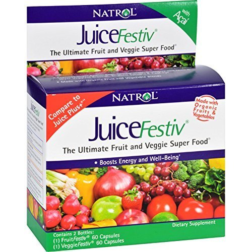 JuiceFestiv, The Ultimate Fruit and Veggie Super Food, 2 Bottles (60 C ( Multi-Pack) by Natrol