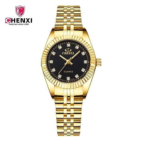HWCOO Golduhr CHENXI Uhr Business Uhr Quarzuhr Paar Tisch 004A Voll Gold IGP Damenuhren