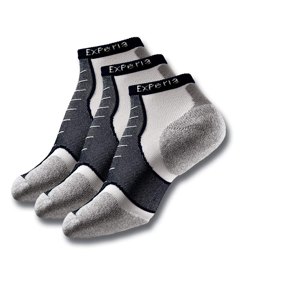 Thorlos Experia XCCU Thin Cushion Running Low Cut Sock, Black On White (3 Pack), S by Thorlos Experia