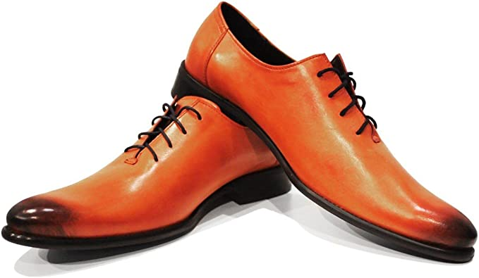 Handmade Italian Mens Color Orange Hand